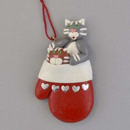 Cats in Mitten personalized christmas ornaments