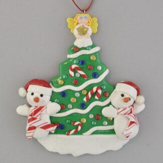 Tree with 2 Snowmen personalized christmas ornaments
