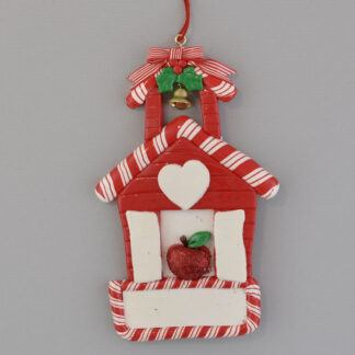 Red Schoolhouse personalized christmas ornaments