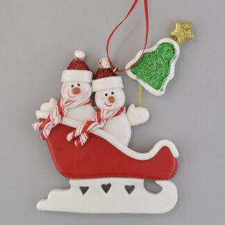 2 Snowmen in Sleigh personalized christmas ornaments