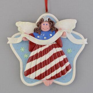 Angel - Patriotic - Brunette personalized christmas ornaments