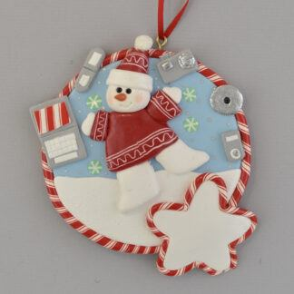 Techie Snowman Personalized Christmas Ornament