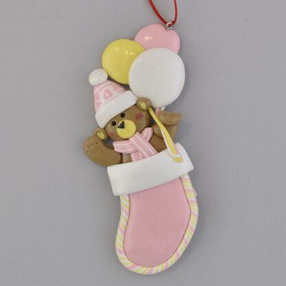 Baby Girl's First Christmas Stocking Personalized Christmas Ornament