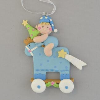 Baby Blue Rocking Horse Personalized Christmas Ornament
