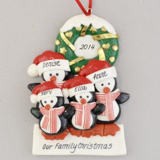 Penguin Partners with 2 Children Family Personalized Christmas Ornament