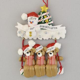 Our Three Grandchildren on a Swing Personalized Christmas Ornament