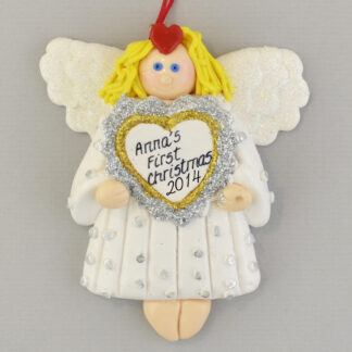 Baby Girl's First Christmas Angel Personalized Christmas Ornament