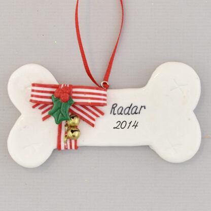 Dog's Christmas Bone Personalized Christmas Ornament