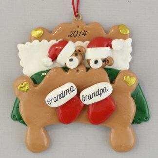 Grandma and Grandpa's Bed Personalized Christmas Ornament