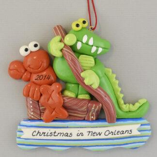 Gator and Crawdad in Flatboat Personalized Christmas Ornament