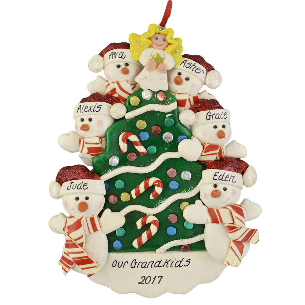 Six Grandchildren Around Tree Personalized Christmas Ornament
