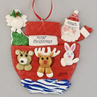 First Christmas Noah's Ark with Santa Personalized Christmas Ornament