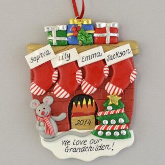 We Love Our 4 Grandchildren Fireplace Personalized Christmas Ornament