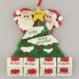 Santa's Tree with 8 Gifts Personalized Christmas Ornament