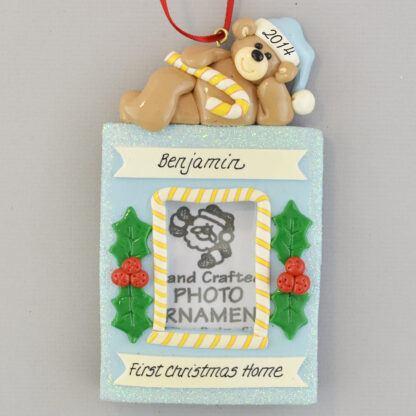 Baby Boy's Adoption Photo Frame Personalized Christmas Ornament