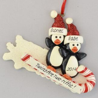 Twins On Toboggan Personalized Christmas Ornament