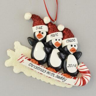 Daddy and Kids Penguins on Toboggan Personalized Christmas Ornament