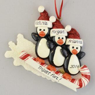 Triplets Toboggan Personalized Christmas Ornament