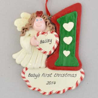 First Christmas Angel Brunette Personalized Christmas Ornament