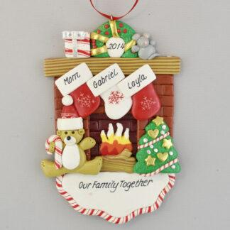 Mom and Two Children Christmas Together Fireplace Personalized Christmas Ornament