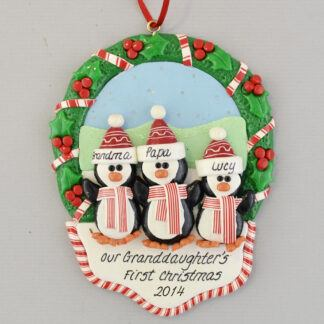 Our Granddaughter's 1st Christmas Personalized Penguin Ornament