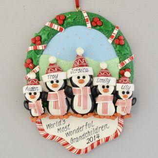Wonderful Grandchildren Penguins Personalized Christmas Ornament