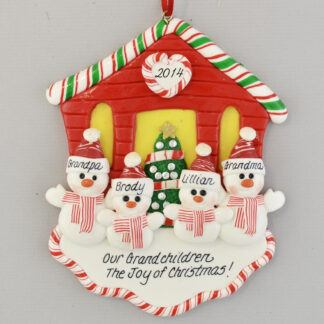 Our Two Grandchildren Snowman House Personalized Christmas Ornament