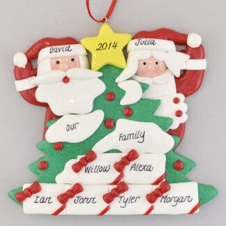 Santa's Tree with Six Gifts Personalized Christmas Ornament