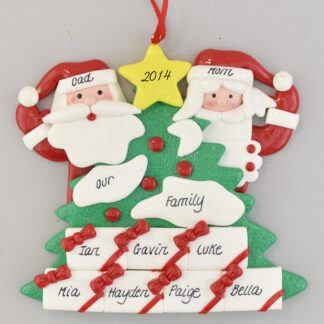 Santa's Tree with Seven Gifts Personalized Christmas Ornament