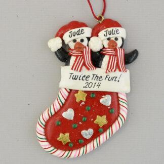 Penguin Twins Twice the Fun Personalized Christmas Ornament