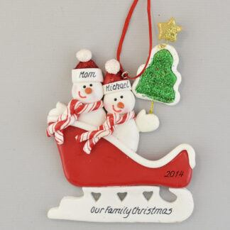 Parent and Child in Sleigh Personalized Christmas Ornament
