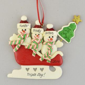 Triplet Joy Personalized Christmas Ornament