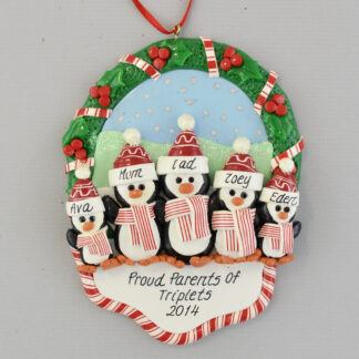 Proud Parents of Triplets Personalized Christmas Ornament
