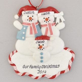 Family Ornament of Mom, Dad, and One Child Snowpeople Personalized Christmas Ornament