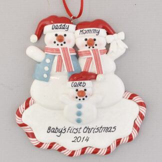 Proud New Parents Snowfamily of Three Perosnalized Christmas Ornament
