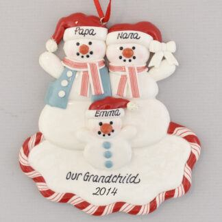 Grandparent's Blessing Snowfamily of Three Personalized Christmas Ornament