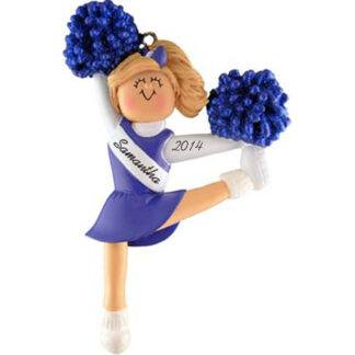 Cheerleader in Blue Uniform: Blonde Hair Personalized Christmas Ornament