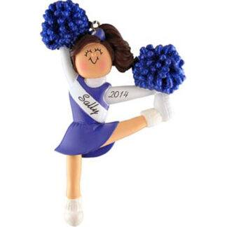 Cheerleader in Blue Uniform: Brown Hair Personalized Christmas Ornament