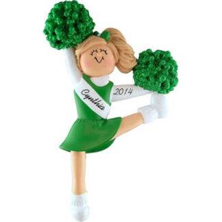 Cheerleader in Green Uniform; Blonde Hair Personalized Christmas Ornament