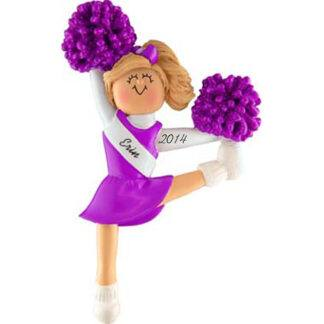 Cheerleader in Purple Uniform: Blonde Hair Personalized Christmas Ornament