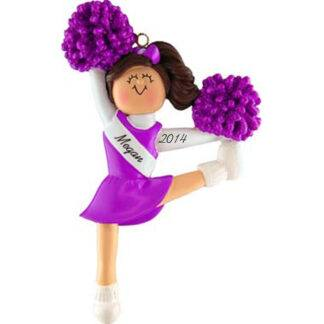 Cheerleader in Purple Uniform: Brunette Hair personalized Christmas Ornament