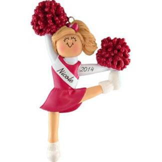 Cheerleader in Red Uniform: Blonde Hair personalized Christmas Ornament