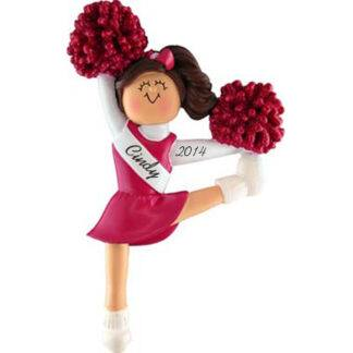 Cheerleader in Red Uniform: Brunette Hair Personalized Christmas Ornament