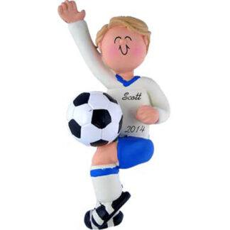 Soccer Boy in Blue: Blonde Hair Personalized Christmas Ornament