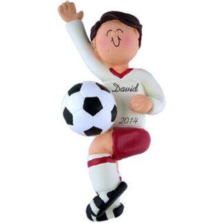 Soccer Boy in Red Uniform; Brunette Hair Personalized Christmas Ornament