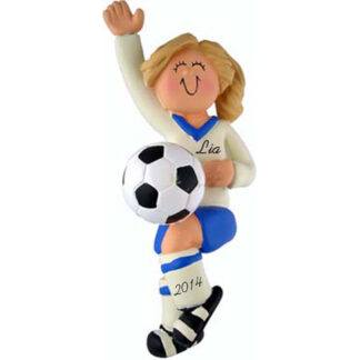 Soccer Girl in Dark Blue Uniform: Blonde Hair Personalized Christmas Ornament