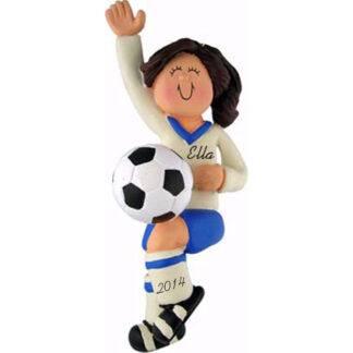 Soccer Girl in Dark Blue Uniform: Brunette Hair Personalized Christmas Ornament