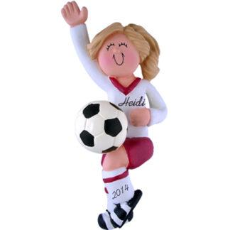 Soccer Girl in Red Uniform: Blonde Hair Personalized Christmas Ornament