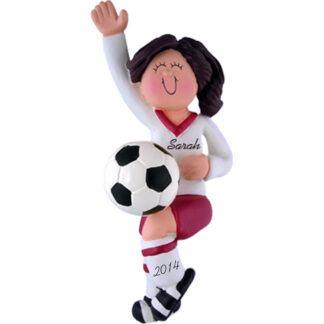 Soccer Girl in Red Uniform: Brunette Hair Personalized Christmas Ornament