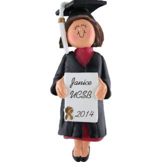 Graduate: Brunette Female Personalized Christmas Ornament